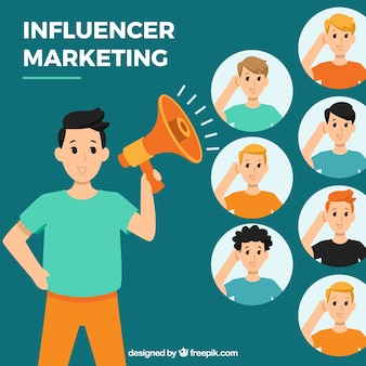 Influencer marketing vector met mensen luisteren