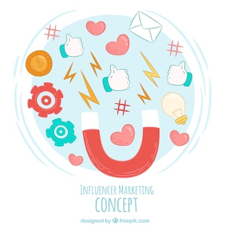 Influencer marketing vector met verschillende symbolen