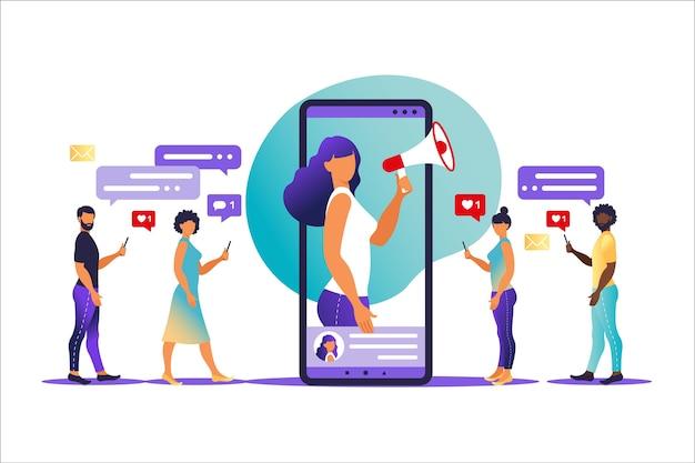 Influencer marketingconcept - blogger-promotiediensten en goederen voor zijn volgers online
