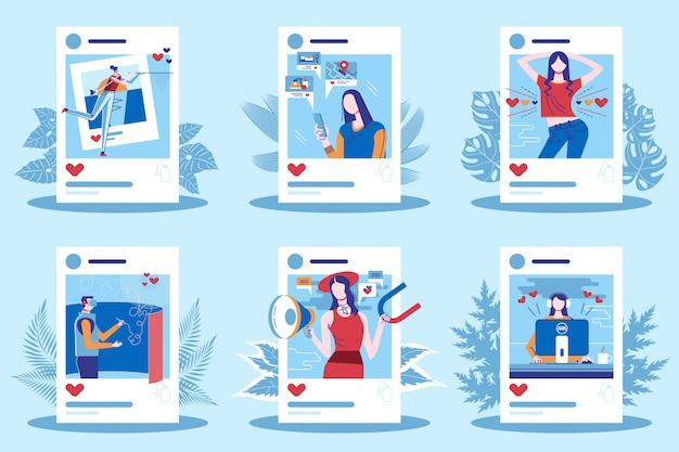 Influencer-personage voor sociale media op het werk
