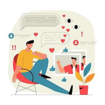 Influencer video blogging illustratie