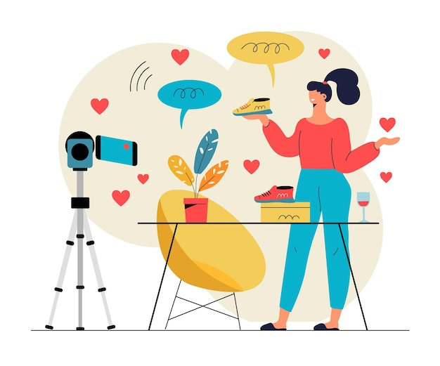 Influencer video blogging illustratie