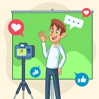Influencermens die een nieuwe video opnemen