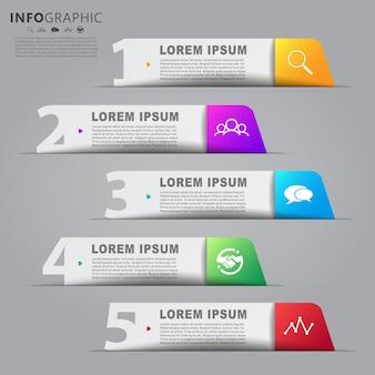 Info grafisch lay-outontwerp met stapinformatie