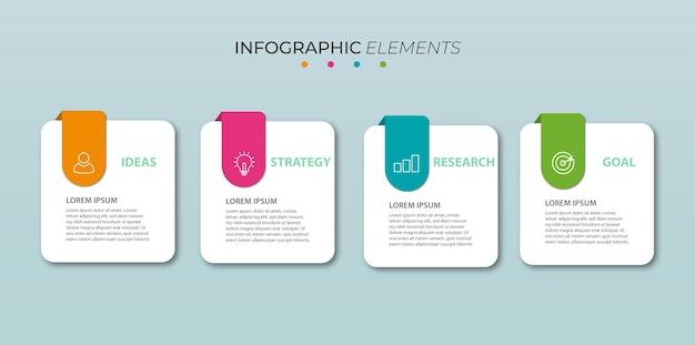 Info grafisch ontwerp met vier opties of stappen.