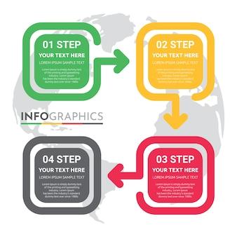 Info-grafische sjabloon voor bedrijven met 4 stappen ontwerp.
