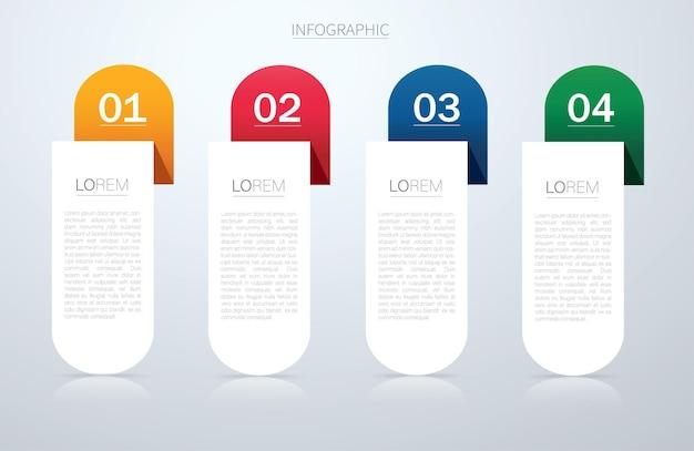 Info grafische vectorsjabloon met 4 opties
