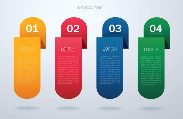 Info grafische vectorsjabloon met stap voor stap 4 opties presentatiegrafiekrapport