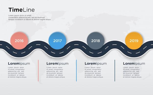 Info tijdlijngrafiek met gebogen wegillustraties en met kleurrijke cirkels voor presentaties.