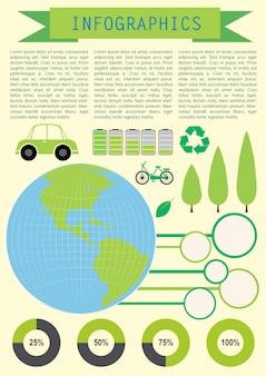 Infochart die de planeet aarde toont