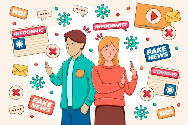 Infodemic concept met man en vrouw