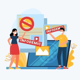 Infodemic illustratie concept