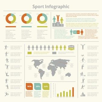 Infografische atletiek sport prestaties ontwikkeling en wedstrijden winnaars statistieken presentatie diagrammen lay-out sjabloon ontwerp vector illustratie