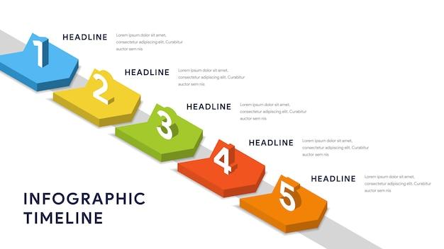Infografische elementen voor stappen, tijdlijn, workflow