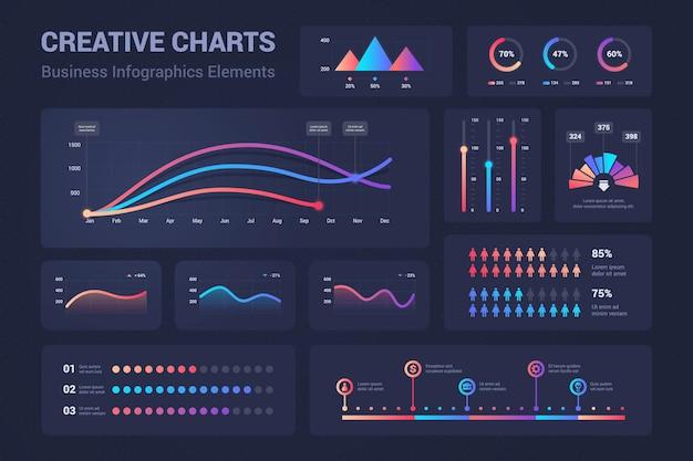 Infografische grafieken. diagrammen, cirkeldiagrammen voortgangsbalken voor bedrijfspresentatie, gegevensvergelijking en budgetrapport. vector grafische analyseset voor informatie dashboard budget, financiën