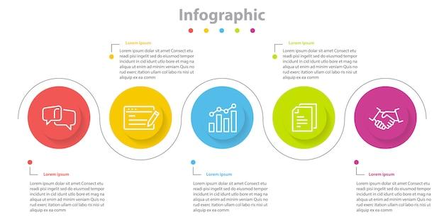 Infografische informatie 7 stap, tijdlijn