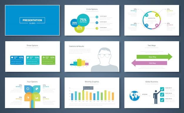 Infografische presentatie elementen en vector sjabloon brochures