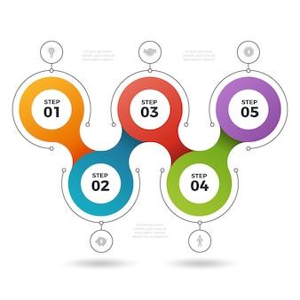 Infografische stappen. procesinfo-elementen grafische sjablonen aantal fasen 3 of 5 stappen