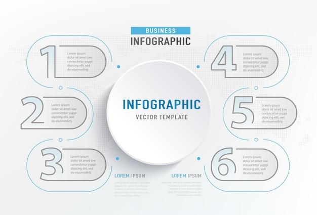 Infograph 6 stappen element. cirkel grafisch grafiek diagram, zakelijke grafiekontwerp.
