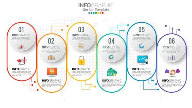 Infograph 6-stappenelement met nummer- en grafiekdiagram, bedrijfsgrafiekontwerp.