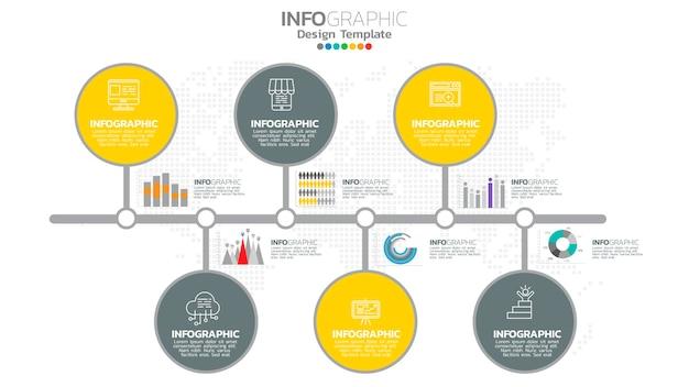 Infograph 6-staps geel kleurelement met grafisch grafiekdiagram, bedrijfsgrafiekontwerp.