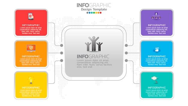 Infograph 6-staps kleurenelement met cirkel grafisch grafiekdiagram, bedrijfsgrafiekontwerp. Premium Vector