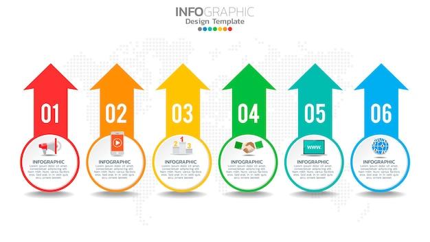 Infograph 6-staps kleurenelement met pijl, grafiekdiagram, bedrijfsmarketingconcept