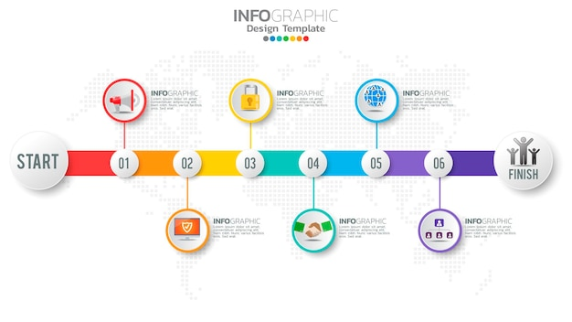 Infograph 6-staps kleurenelement met pijl, grafiekdiagram, online marketingconcept.