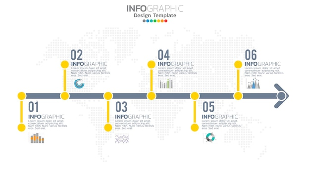 Infograph stap geel kleurelement met cirkel grafisch grafiekdiagram, bedrijfsgrafiekontwerp.