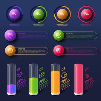 Infographic 3d glanzend ontwerp