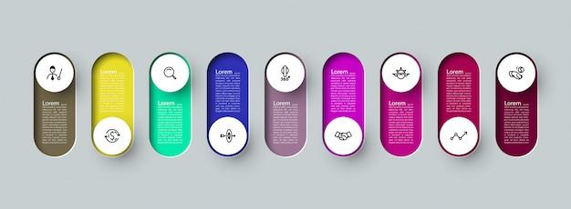 Infographic 3d lange cirkel label, met 9 opties processen.