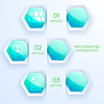 Infographic abstract concept met pictogrammen bedrijfs en glanzende heldere turkooise zeshoeken
