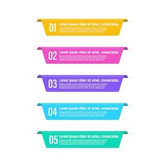 Infographic banner stappen geïsoleerde elementen. getallenopties of stappen. infographic banner.