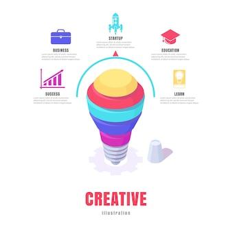 Infographic bedrijf, conceptuele illustratie, abstracte gloeilamp idee isometrisch