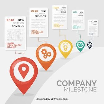 Infographic bedrijf mijlpalen concept met weg