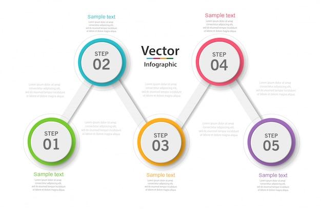 Infographic bedrijfsconcept met 5 opties, onderdelen, stappen of processen