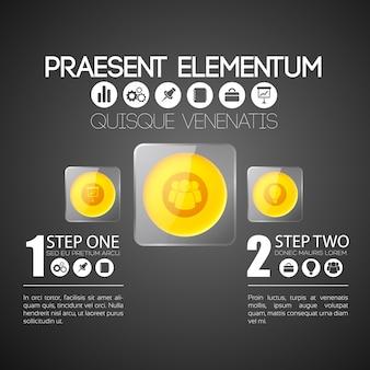 Infographic bedrijfsconcept met oranje ronde knoppen in grijze glazen vierkante kaders en pictogrammen
