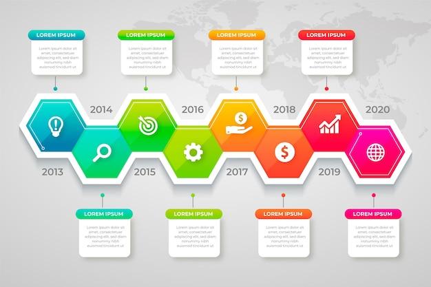 Infographic bedrijfsconcept met vooruitgang