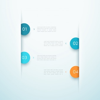 Infographic bedrijfslay-outontwerp nummer stappen eén tot vier