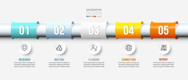 Infographic bedrijfsmalplaatje met stap of optieontwerp