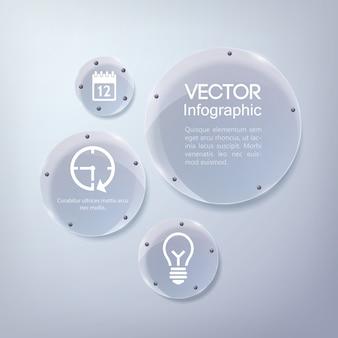 Infographic bedrijfsontwerp met pictogrammen en glas glanzende cirkels