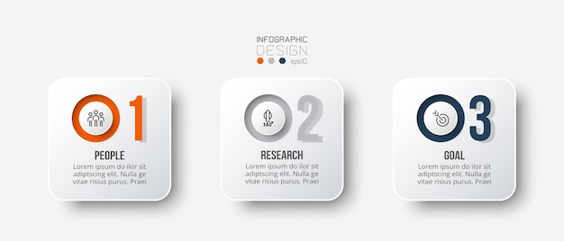 Infographic bedrijfssjabloon met stap- of optieontwerp