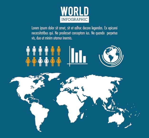 Infographic bevolking van de wereld van de aarde