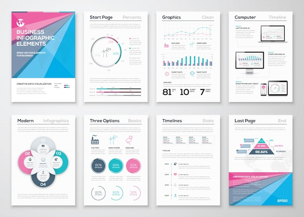 Infographic business brochure sjablonen voor data visualisatie