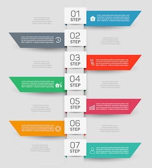 Infographic business sjabloonontwerp met 7 stappen