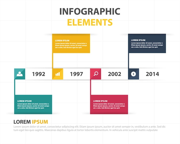 Infographic business template met vooruitgang in de loop der jaren