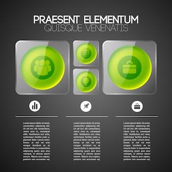 Infographic business websjabloon met groene cirkels in grijze glazen vierkante kaders en pictogrammen