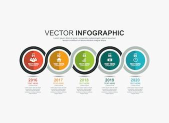 Infographic cirkel elementen tijdlijn proces grafieksjabloon