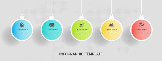 Infographic cirkel sjabloon 5 optie.