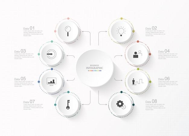 Infographic cirkels en pictogrammen voor bedrijfsconcept.